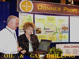 Diana Chance demonstrating the GIS mapping software at the Gulf Coast Prospect Expo.